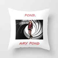 amy pond Throw Pillows featuring Pond, Amy Pond by DarkCrow