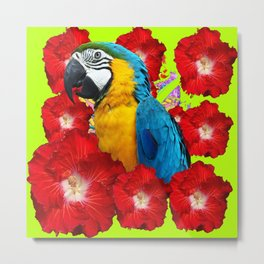Chartreuse Red Hibiscus Flowers & Blue Macaw Parrot Metal Print