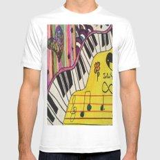 Piano White Mens Fitted Tee MEDIUM