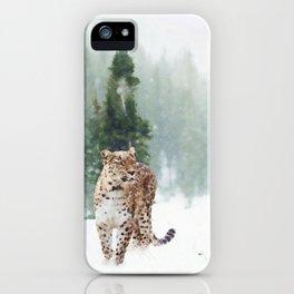 Leopard Running on Snow iPhone Case