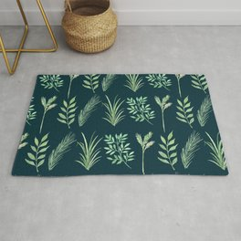 Bouquet of branches and leaves pattern,  Peacock background Rug