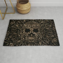 Sugar Skull Ornament Black and Gold Rug