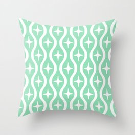 Mid century Modern Bulbous Star Pattern Mint Green Throw Pillow
