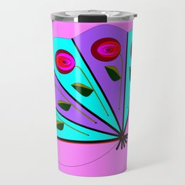 A Lavender and Blue Fan with Tassel Travel Mug