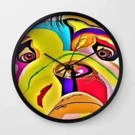 Bulldog Close-up Wall Clock