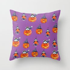 Black Cats and Jack-o-lanterns Throw Pillow