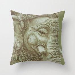 Ganesh green Throw Pillow