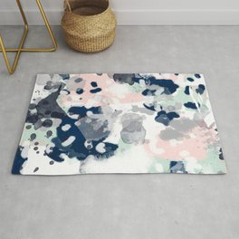 Melia - abstract minimal painting acrylic watercolor nursery mint navy pink Rug