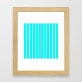 Vertical Lines (White/Aqua Cyan) Framed Art Print