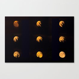 Red blood waning moon Canvas Print