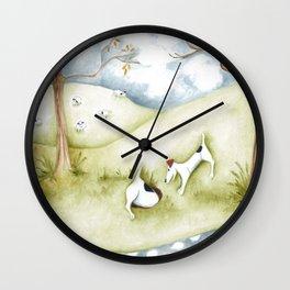 Dog sheep original art Jack Russell Terrier painting landscape Wall Clock