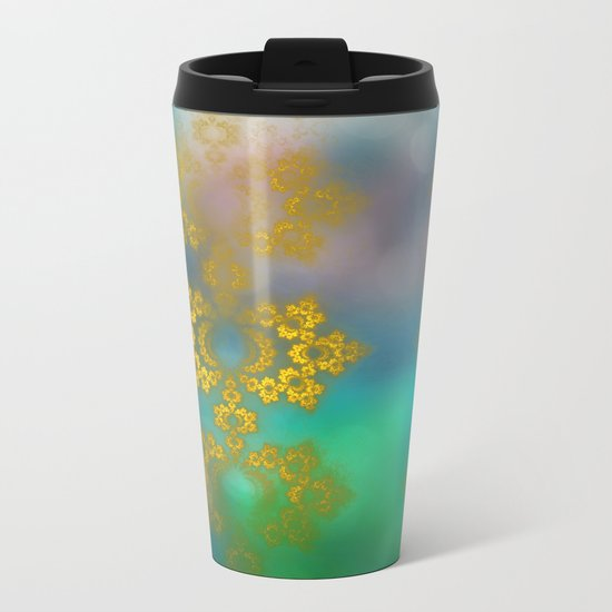 Gold lace decoration Metal Travel Mug