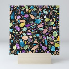 Terrazzo - Gemstones and Gold - Black Marble Mini Art Print