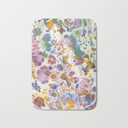 Marbling, purle, blue, yellow and green Bath Mat