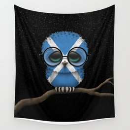Baby Owl with Glasses and Scottish Flag Wall Tapestry