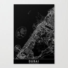 Dubai Black Map Canvas Print