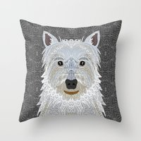 westie Throw Pillows featuring Westie by ArtLovePassion
