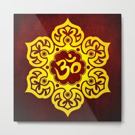 Vintage Scratched Yellow and Red Lotus Flower Yoga Om Metal Print