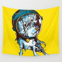 charlie Wall Tapestries featuring Space Charlie by Stacy Nguyen