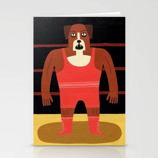 Dog Wrestler Stationery Cards
