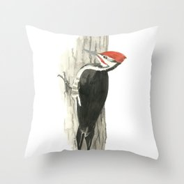 Pileated Woodpecker - Watercolor Throw Pillow