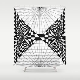 Abstract butterfly on perspective grid Shower Curtain