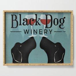 Black Dog Labrador Wine Serving Tray