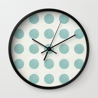 polka dots Wall Clocks featuring Polka Dots by Juste Pixx Designs