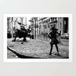 Fearless Girl and the Charging Bull Art Print