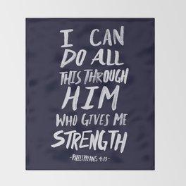 Philippians 4: 13 x Navy Throw Blanket