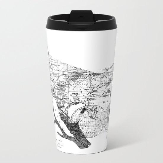 Bird Wanderlust Black and White Metal Travel Mug