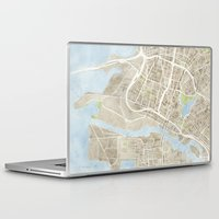 oakland Laptop & iPad Skins featuring Oakland California Watercolor Map by Anne E. McGraw