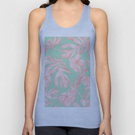 Tropical Palm Leaves Hibiscus Pink Mint Green Unisex Tank Top