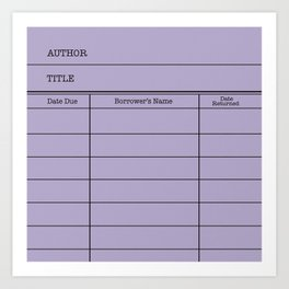 LiBRARY BOOK CARD (violet) Art Print