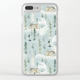 Winter Forest Pattern Clear iPhone Case