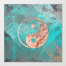 Yin Yang - Rose Turquoise Marble Canvas Print