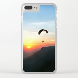 Sunset Paraglide Clear iPhone Case