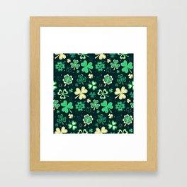 Dark green Shamrock heart leaf Framed Art Print