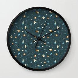 Lil Astronaut Pattern (8bit) Wall Clock