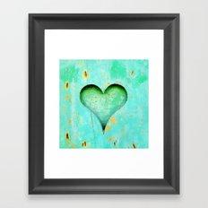 Blue Peeling Paint Wood Heart Framed Art Print