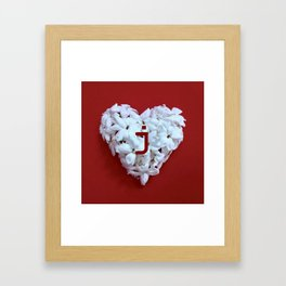 Red Monogrammed Heart J Framed Art Print