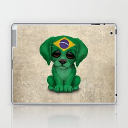 Cute Puppy Dog with flag of Brazil Laptop & iPad Skin
