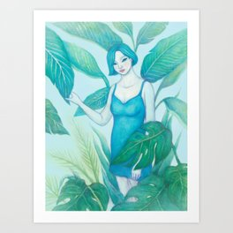 A Girl in the Forest Art Print