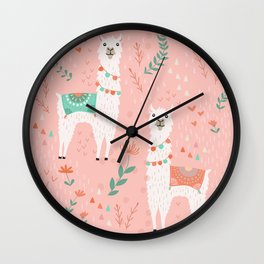 Lovely Llama on Pink Wall Clock