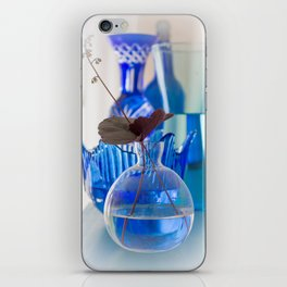 Decoration with vases with water and flowers on a shelf close front view iPhone Skin