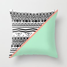 Block | Black White Aztec Pattern Mint Green Color Block Throw Pillow