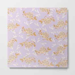 Gold & pearl watercolor flowers on lilac seamless pattern Metal Print