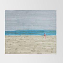 Swimmer on a Winter Beach Throw Blanket