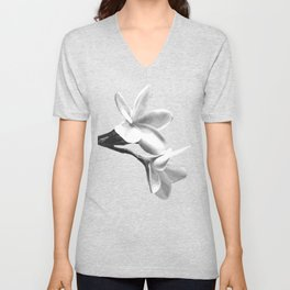 White Flowers Black Background Unisex V-Neck