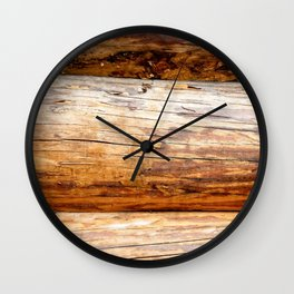 Wooden Log Wall Of A Vintage Cabin Wall Clock